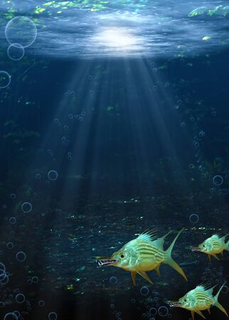 fantasy: Underwater scene of a school of dog fish swimming near the river bed.  Illustration and Photograph. Stock Photo