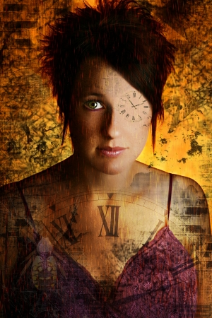 abstract time: Beautiful woman in abstract time them portrait.  Photography and Illustration.