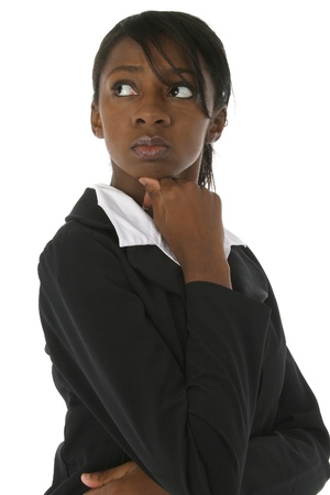buisiness: Attractive young african american woman in buisiness suit over white background serious expression.