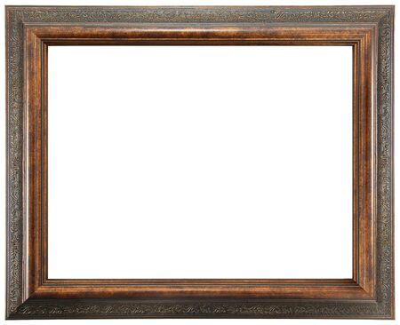 Ornate stained wooden frame over white isolation.