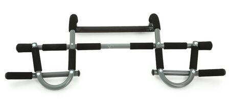 Black and grey portable chin-up bar over white background.