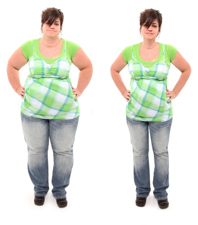 skinny: Before and after shot of 45 year old overweight woman standing over white.  Stock Photo