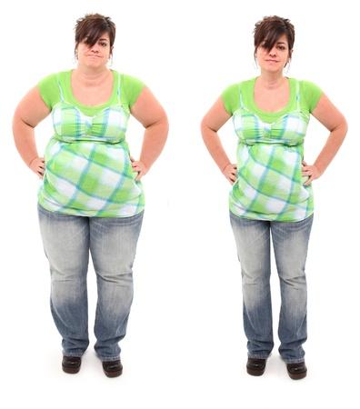 Vor und nach der Aufnahme von 45 Jahre alten übergewichtigen Frau stehend weiß.  Standard-Bild - 9739037