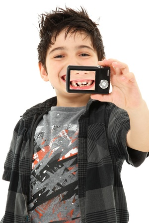 Adorable taking self portrait of close up  missing teeth. Standard-Bild