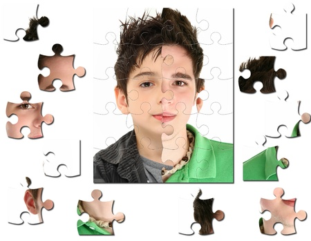 younger man: Conceptual growth image of child age 8 and 18 years old.