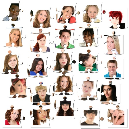 varieties: Variety of teens, twenty-five faces, of young people ages 16-18 on puzzle peices.
