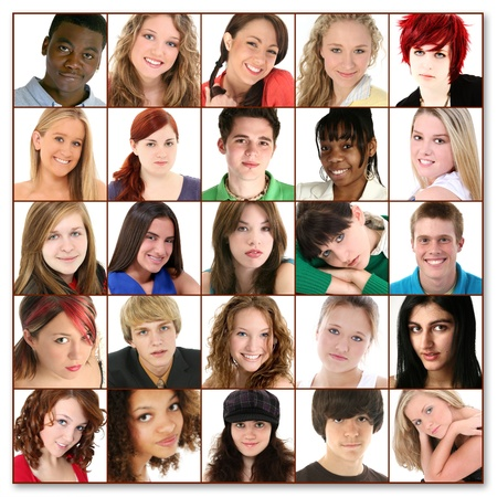 strangers: Variety of teens, twenty-five faces, of young people ages 16-18. Stock Photo