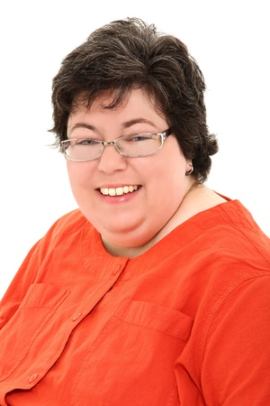 Business style portrait of a confident and happy obese forties woman over white.