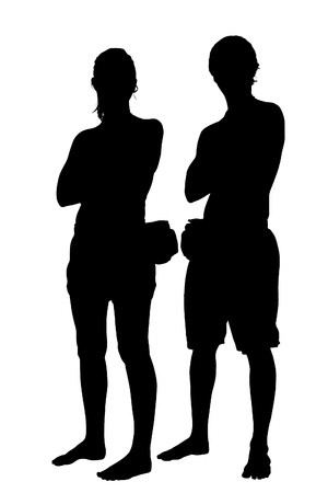 fanny: Silhouette of couple in beach clothing and fanny packs.