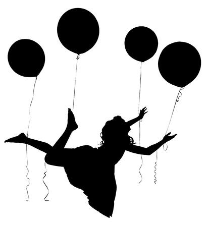 Silhouette of girl child in dress floating away on balloons Standard-Bild