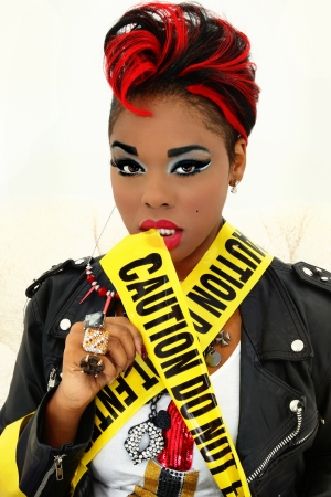 do not enter: Sexy Black Woman Wrapped in Caution Tape, Do Not Enter