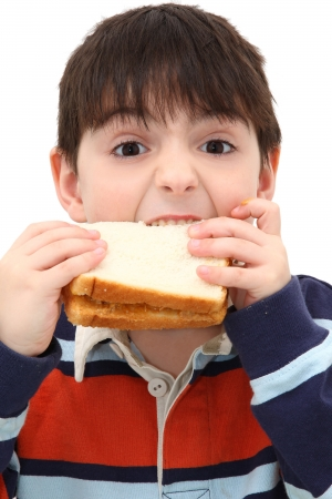 jam sandwich: Adorable Caucasian Boy Child Eating Peanut Butter Sandwich in Studio