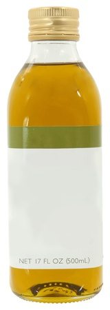 bought: Store bought blank label olive oil in glass bottle over white  Stock Photo