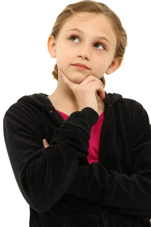 tween: Adorable Caucasian Tween Girl Child Thinking Seriously over White Stock Photo