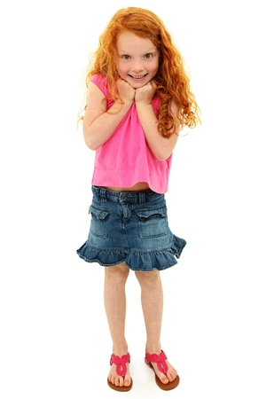 redhead: Adorable Caucasian Redhead Girl Child Surprised Expression Stock Photo