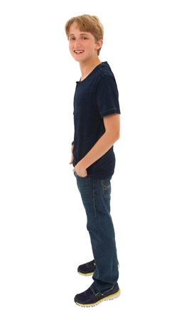 Smiling happy handsome caucasian teen male with clipping path.