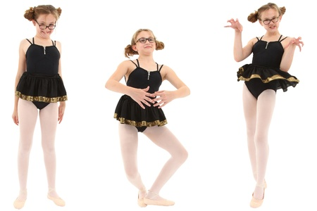 geeky: Funny geeky ballerina in three poses. Clipping path over white. Stock Photo