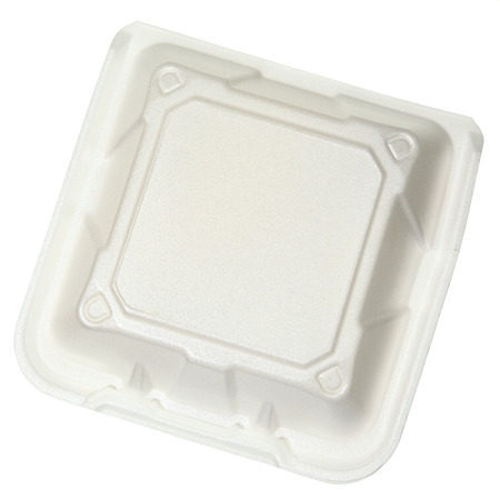 paper container: Top View Closed disposable Food Container isolated over white.