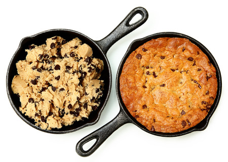 Gluten Free Chocolate Chip Skillet Cookie Before and After Cooked Isolated