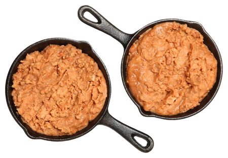 baked beans: Refried Beans in Skillets Over White in Single Serve Skillets