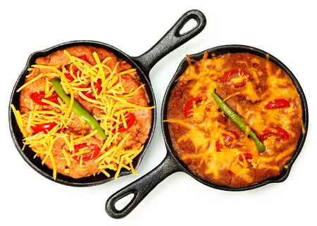 Skillet Refried Beans with Hot Peppers, Cherry Tomatos and Cheddar Cheese over white  Before and After Baked  Imagens