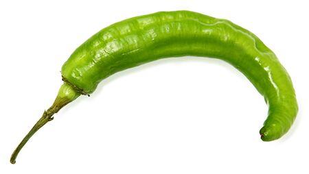 Long Green Hot Pepper over white background