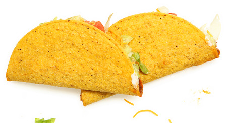 Two Tacos Stacked on White Background with cheese and lettuce   Imagens