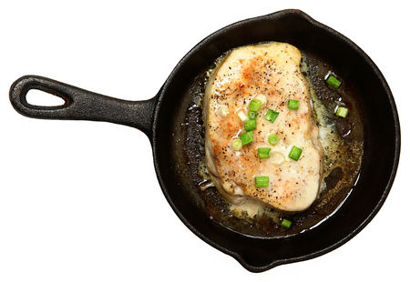 Oven Baked Swordfish in Butter with Green Onions and Ginger Top View Over White