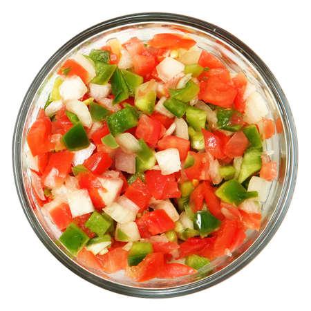 Trinity of chopped Tomato, Bell Pepper, Onions over white. Standard-Bild