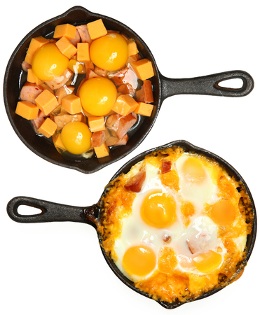 Before After Baked Eggs and Sausage with Cheese in Skillets Over White. Standard-Bild