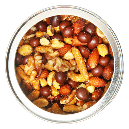 mixed nuts: Open Tin Can of Mixed Nuts Over White Top View