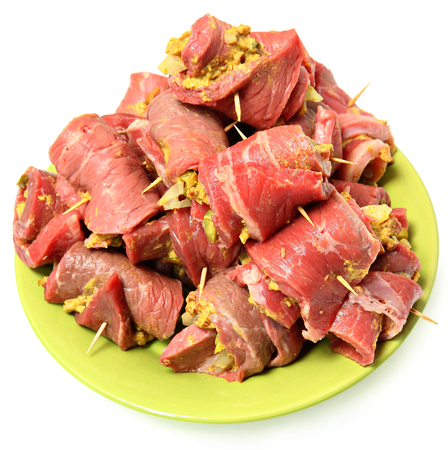 Raw Prepared German Beef Roulade Ready to Cook Isolated Over White photo