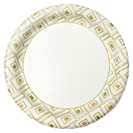 Disposable Paper Plate Over White Background