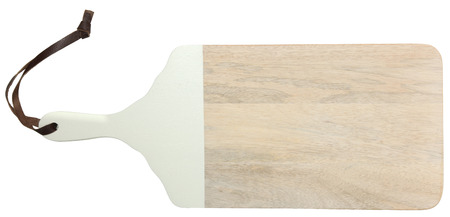 Natural Light Wood Cutting Board with Leather Strap Over White.