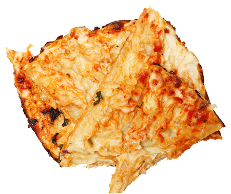 Pile of Scraped off Pizza Crust for Gluten Allergies or Low Carb Diet Over White. Standard-Bild