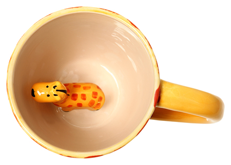 Adorable Giraffe Coffee Mug Top View Ceramic Painted Giraffe Isolated Imagens