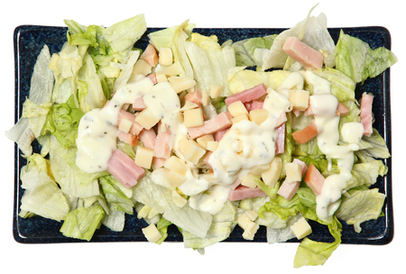 High Angle View Isolated Chef Salad on Plate Over White Standard-Bild