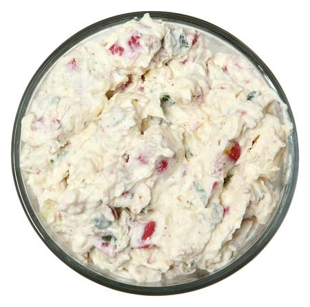 Baked Potato Style Potato Salad Over White High Angle View