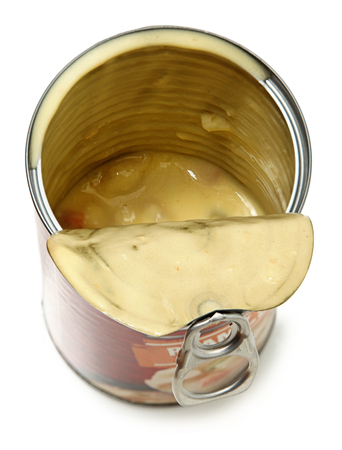 Half Empty Open Can of Potato Dumpling Soup Isolated High Angle View photo