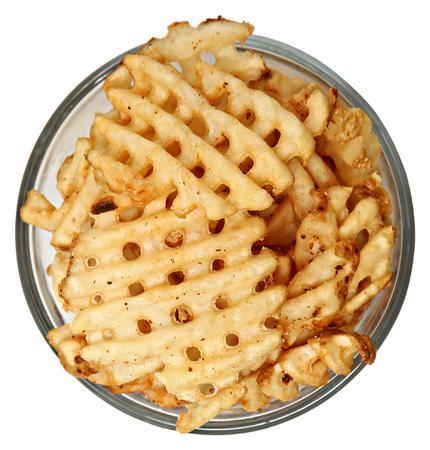 waffles: Plato de patatas fritas de gofres Más negro Vista elevada