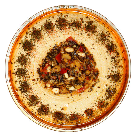 Glass Bowl Roasted Pine Nut Hummus High Angle View Over White