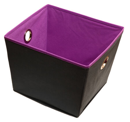 Home or Office canvas storage or file box over white. Gray and purple. Imagens