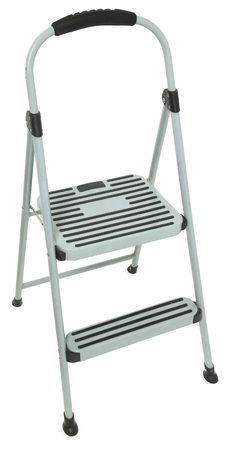 Dirty old grey and black stepladder over white background. Imagens