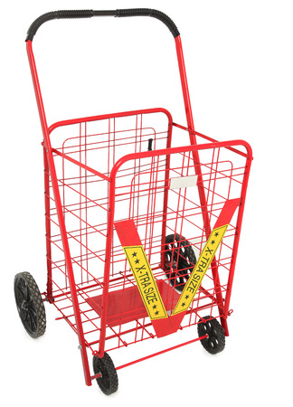 Large Red Push Cart isolated over white background.
