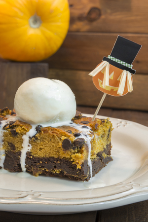 brownie: Halloween pumpkin brownie Stock Photo