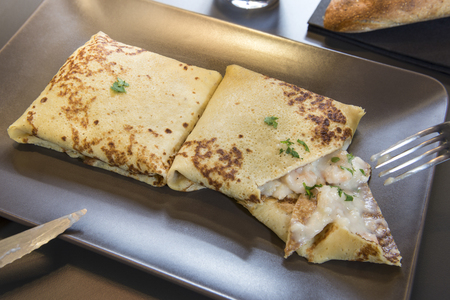 crepe: Savoury crepe with shrimps