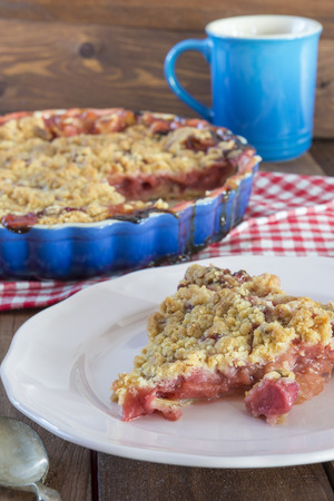 Homemade strawberry rhubarb pie with crumble topping