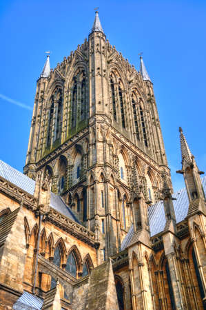 HDR of Lincoln Cathedral tower, UK showing architectural detail  photo