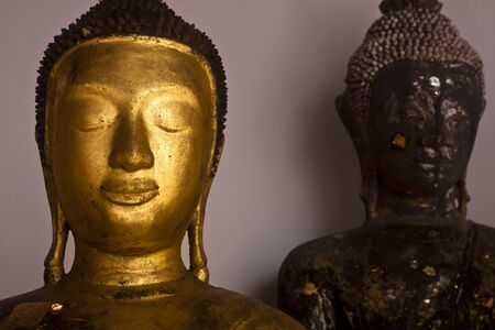 revere: Face of  Buddha, Golden Buddha Statue   Stock Photo