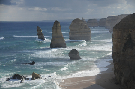 Later afternoon shot of the twelve apostles, a famous rock formation off the coast of Victoria, Australia, along the great ocean road.